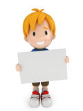 Kid and Blank Board Stock Photos