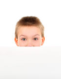 Kid with Blank Paper Stock Image