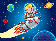 Kid Blasting Through Outer Space Stock Photos