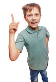 Kid blond boy shaggy raised teenager thumbs up is Royalty Free Stock Images