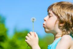 Kid blowing dandelion Royalty Free Stock Photos
