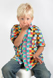 Kid blowing a kiss Stock Photo