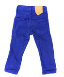 Kid blue jeans with blank tag Royalty Free Stock Photo