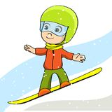Kid on board. Boy on Snowboard. Snowboarder. Vector illustration. For your design Royalty Free Stock Photography