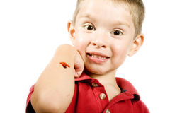 Kid with a boo-boo. Stock image of little boy with a scrape in his arm, isolated on white Royalty Free Stock Photos