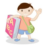 Kid with Book and School Bag. Illustration of kid standing with book and school bag on white background Stock Photo