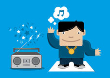 Kid with boom box cartoon  Royalty Free Stock Images