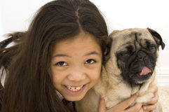 Kid with Bored Pet Royalty Free Stock Photography
