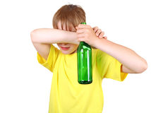 Kid with the Bottle Royalty Free Stock Photos