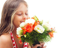 Kid with bouquet Royalty Free Stock Photography