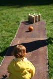 Kid Bowling Stock Image