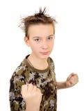 Kid in Boxer Pose Stock Photos