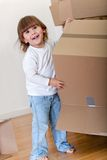 Kid with boxes Stock Photo