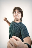 Kid or boy angry and aggressive in fight gesturing no fear Stock Photos