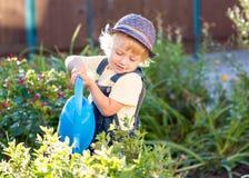 Kid boy as gardener. Kid toddler boy watering flowers as gardener Royalty Free Stock Image