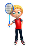 Kid boy with Badminton. 3d rendered illustration of Kid boy with Badminton Royalty Free Stock Image