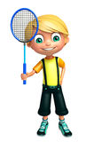 Kid boy with Badminton. 3d rendered illustration of Kid boy with Badminton Stock Photos