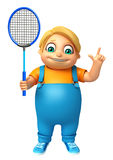 Kid boy with Badminton. 3d rendered illustration of Kid boy with Badminton Stock Photo