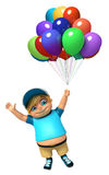 Kid boy with Balloons. 3d rendered illustration of kid boy with  Balloons Royalty Free Stock Photos