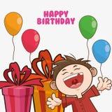 Kid boy balloons happy birthday design Royalty Free Stock Images