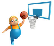 Kid boy with Basket ball. 3d rendered illustration of Kid boy with Basket ball Stock Photo