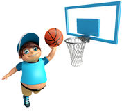 Kid boy with Basket ball. 3d rendered illustration of Kid boy with Basket ball Royalty Free Stock Photography