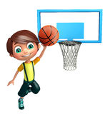 Kid boy with Basket ball net. 3d rendered illustration of Kid boy with Basket ball net Stock Photos