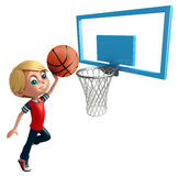 Kid boy with Basket ball net. 3d rendered illustration of Kid boy with Basket ball net Royalty Free Stock Image