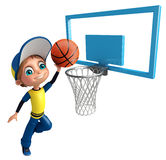 Kid boy with Basket ball net. 3d rendered illustration of Kid boy with Basket ball net Stock Images