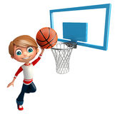Kid boy with Basket ball net. 3d rendered illustration of Kid boy with Basket ball net Stock Photo