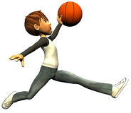 Kid boy basketball jump fly Royalty Free Stock Image