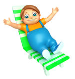 Kid boy with  Beach Chair. 3d rendered illustration of kid boy with Beach Chair Royalty Free Stock Photo
