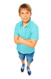 Kid boy in blue shirt Royalty Free Stock Image