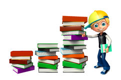 Kid boy with book stack Royalty Free Stock Photos