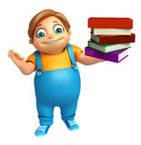 Kid boy with Book Stack. 3d rendered illustration of kid boy with Book Stack Stock Photography
