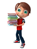 Kid boy with Book stack. 3d rendered illustration of Kid boy with Book stack Stock Photo