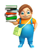 Kid boy with Book Stack & School bag Royalty Free Stock Photo