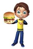 Kid boy with burger Stock Photos