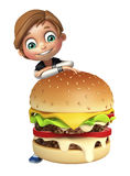 Kid boy with burger Royalty Free Stock Photography