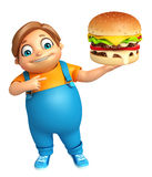Kid boy with Burger Stock Photography