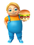 Kid boy with Burger Stock Image