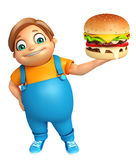 Kid boy with Burger Stock Images