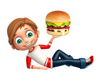 Kid boy with Burger Royalty Free Stock Photo