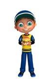 Kid boy with burger Royalty Free Stock Photos