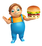 Kid boy with Burger Royalty Free Stock Images