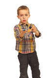 Kid boy with car and keys Royalty Free Stock Photo