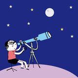 Kid boy Child looking at the stars Stock Image