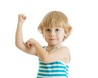 Kid boy child strength training and showing muscles. Isolated on white Royalty Free Stock Photos