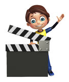 Kid boy with clapper board Stock Photography