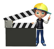 Kid boy with clapper board Royalty Free Stock Photos